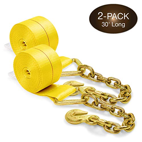 Two 4-in. X 30-Ft. Heavy-Duty Winch Straps with Chain End and Grab Hook, 16,200 Lbs. Break Strength | Chain TieDowns by DC Cargo Mall
