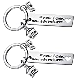 2PCs New Home Keychain 2021 Housewarming Gift for New Homeowner House Keyring Moving in Key Chain...