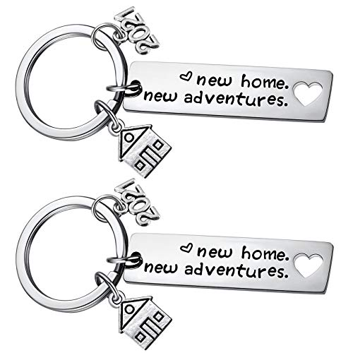 2PCs New Home Keychain 2021 Housewarming Gift for New Homeowner House Keyring Moving in Key Chain New Home Owners Jewelry from Real Estate Agent