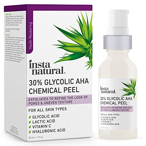 Glycolic Acid 30% AHA Chemical Peel - Blackhead, Dark Spot & Scar Removal & Treatment for Face - AHA Peeling Solution, Professional at Home Facial Exfoliant - Lactic Acid & Vitamin C - 1 oz