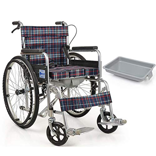 LLT Wc Pratica Sedia Portantina in Sedia a Rotelle, Doccia Medical Commode Mobile Sedia, Carico Massimo 100Kg, Anziani/Donne in Gravidanza/Disabili,Plaid Oxford