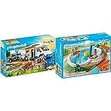 Playmobil 9318 Family Fun Camping Aventura, A Partir De 4 Años + Family Fun Piscina con Accesorios, Multicolor, Talla Única (Geobra Brandstätter 9422)