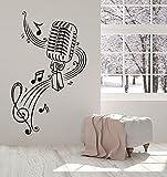 Vinyl Decal Wall Sticker Microphone MIC Karaoke Music Notes Rock Pop Musical Love (i377) 22.5 in X 35 in