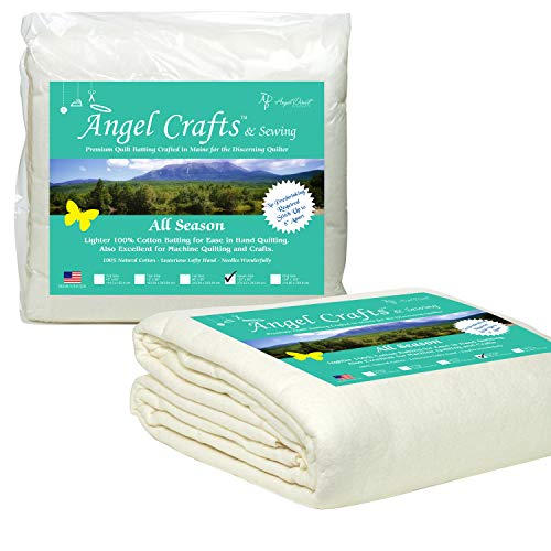 Angel Crafts and Sewing Cotton Batting for Quilts: Purely Natural All Season Quilt Batting by the Roll - Low Loft Fabric for Quilting, Upholstery, Applique, Pillows - 108 by 96 inches, Queen Size
