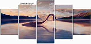 PENGTU Paintings Modern Canvas Painting Wall Art Pictures 5 Pieces loch Ness Monster Looks his Reflection Wall Decor HD Printed Posters Frame