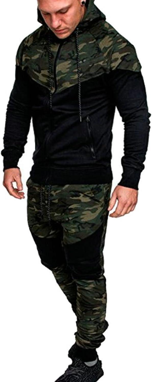 Fllay Men Camo Print Hoodie Jackets + Jogger Pants 2 Pieces Tracksuit Outfit Set