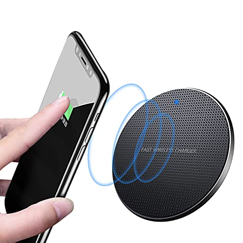 TWICK - Cargador inalámbrico, almohadilla de carga inalámbrica rápida con certificación Qi de 10W ultra delgada, compatible con iPhone 12//11/XS+/XR/XS/X/8/8 Plus, Galaxy Note 10/S10/S10+/S10+/S10E