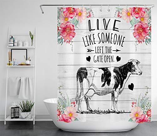 Duschvorhang mit Kuh-Motiv & rosa Blumen, inspirierende Zitate auf rustikalem Holz, Landhausstil, Duschvorhang für Badezimmer, 152,4 x 182,9 cm, wasserdichter Polyester-Badevorhang mit Haken