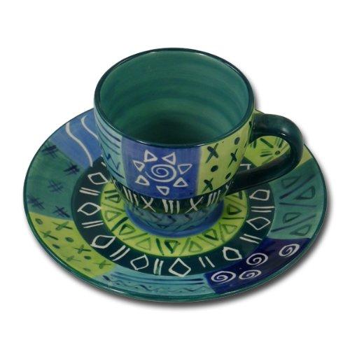 Kaffeetasse und Untertasse 'Blue and Green', Farbe:grün