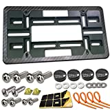 Front License Plate Mounting Kit- Universal Front Bumper License Plate Bracket Holder and Carbon Fiber Car Tag Frame, 2 Drill Relocator Adapter Plate Holder with Stainless Steel Screws, Cap Covers