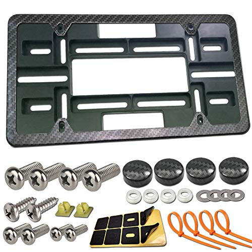 MINDA Front License Plate Mounting Kit- Universal Front Bumper License Plate Bracket and Carbon Fiber Car Tag Frame, No Drill Relocator Adapter Plate Holder with Stainless Steel Screws, Cap Covers