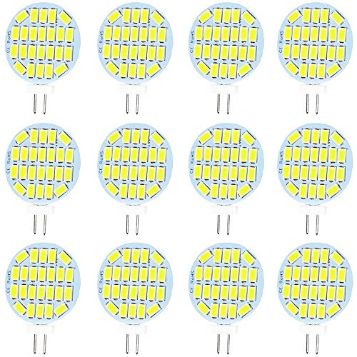 Jenyolon G4 LED weiss Lampen 3W AC/DC 12V, 6000K, 400Lm, Ersatz für 30W Halogenlampen Glühlampen, klein LED G4 Stiftsockellampe Leuchtmittel Birne Licht, 120°Abstrahlwinkel, 12er Pack