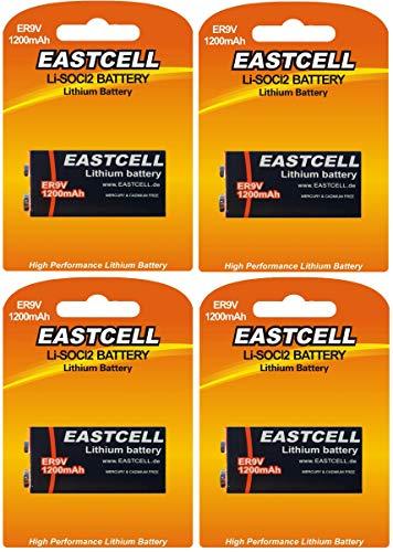 4 x ER9V 9V Block (1200 mAh) lithium batterij rookmelder voor lange levensduur (4 batterijen ESTCELL) FBA