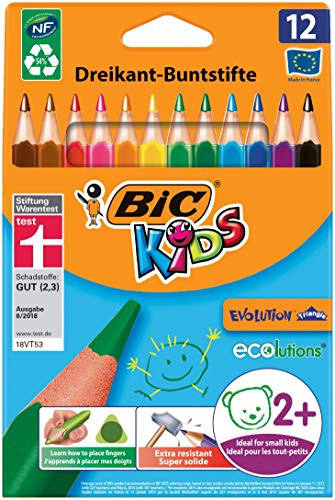 BIC Kids Evolution Triangle ECOlutions Triangular Colored Pencils - Assorted Colors, 12 Blister Units