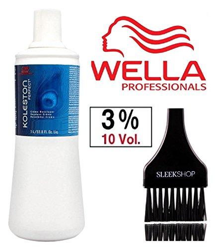 Wella KOLESTON WELLOXON PERFECT Cream Developer (with Sleek Tint Brush) (10 Volume / 3% - 33.8 oz liter)