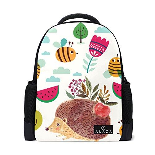 MyDaily Rucksack mit niedlichem Igel Bienen-Motiv, 35,6 cm (14 Zoll) Laptop, Tagesrucksack, Buchtasche für Reisen, Hochschule, Schule