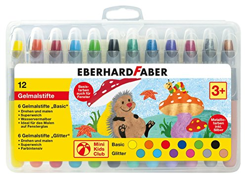 Eberhard Faber 529112 - Mini Kids Club, 12 penne gel in custodia di plastica