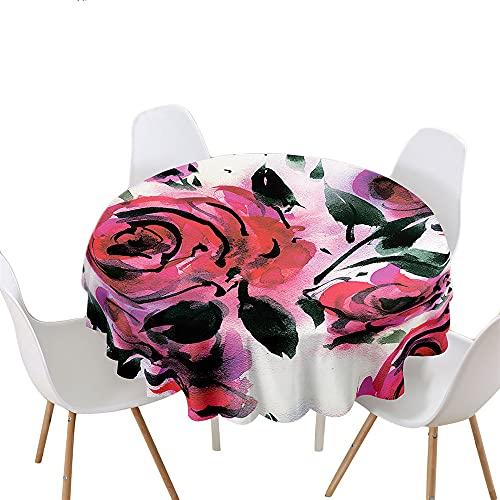 Highdi Impermeable Mantel de Redondo, Antimanchas Lavable 3D Estampado Flores Manteles Moderno Decoración para Salón Cocina Comedor Mesa Exterior (Rosa,Redondo 180cm)