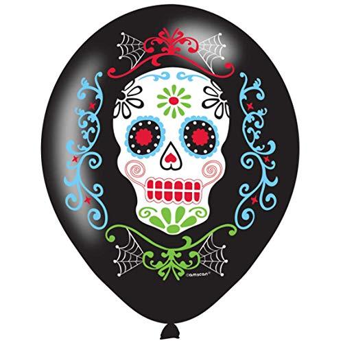 Amscan 9901175 - Luftballons Day of the Dead, 6 Stück, Größe 27 cm, Dia de los Muertos, Dekoration, Mottoparty, Halloween