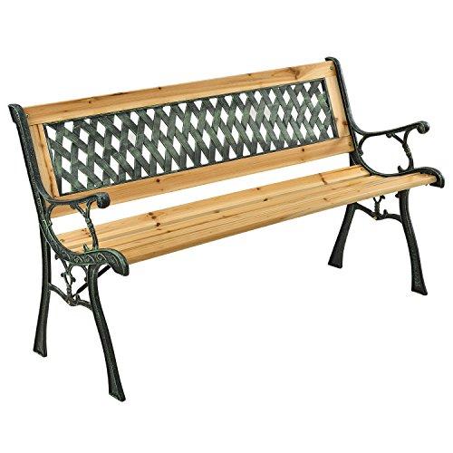 ArtLife Gartenbank Pisa – 2-Sitzer Holzbank mit Armlehnen & Rückenlehne – wetterfeste Sitzbank 122x54x73 cm - Seitenelemente aus Gusseisen