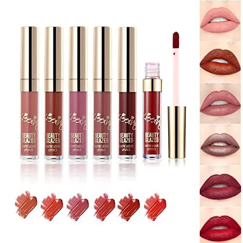 Beauty Glazed Matte Liquid Lipstick Makeup Set Long Lasting Matte...