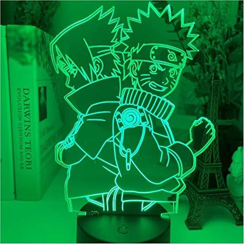 Anime 3D Lampe Naruto Uzumaki Figur Team 7 Sasuke Kakashi Schlafzimmer Nachtlicht Kinder Kind Geburtstagsgeschenk Weihnachten RGB Led Nachtlicht, DM 24,16 Farbe mit Fernbedienung