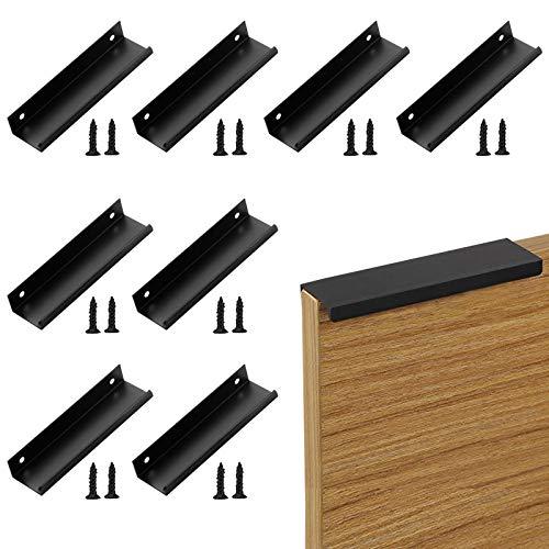 otutun Tiradores Cocina Tiradores Armarios (150mm), 8 Piezas Tirador para Mueble Acero Inoxidable , Tiradores de Cajón Oculto Usado para Cocina, Puerta, Cajón, Armario (Negro)