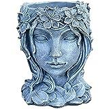 Macetero de resina con diseño de diosa retro, maceta de resina para decoración del hogar (gris)