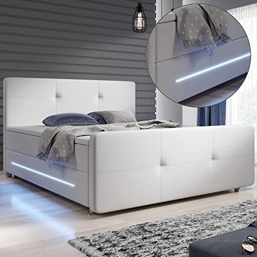 ArtLife Boxspringbett Oakland 180x200 cm mit 2 Federkern-Matratzen, Topper, LED-Beleuchtung – 58 cm Komforthöhe – Bett aus Kunstleder & Holz – weiß