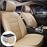 Maibenbao Fundas de asiento de coche para BMW Serie 3 GT 318i 320i 325i 330i 335i Cuero 2 Asientos Cubierta de asiento de coche Protector impermeable Airbag Compatible (Beige)
