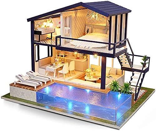 Evav Puppenhaus Miniatur DIY Haus Kit, Hand zusammengebaut p gogisches Spielzeug Geb e Modell Geburtstagsgeschenk - Zeit Wohnung (Größe   29×24×23.5cm(Dust Cover))