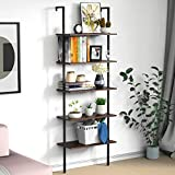Ladder Shelf Bookshelf, 5-Tier Wall-Mounted Industrial Ladder Bookcase, Open Wood Storage Organizer with Metal Frame, Utility Rack Plant Stand for Living Room, Kitchen, Office (Dark Walnut)