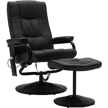 vidaXL Fauteuil de Massage avec Repose Pied Electrique Chaise de Massage Bureau Salon Salle de Séjour Chambre à Coucher Maison Intérieur Noir