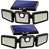 Solar Lights Outdoor, AmeriTop 128 LED 800LM Wireless LED Solar Motion Sensor Lights Outdoor; 3 Adjustable Heads, 270° Wide Angle Illumination, IP65 Waterproof, Security LED Flood Light (Daylight)