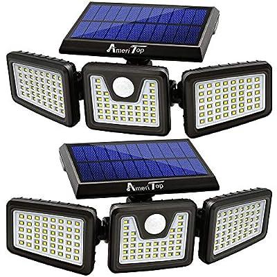 Solar Lights Outdoor, AmeriTop 128 LED 800LM Wireless LED Solar Motion Sensor Lights Outdoor; 3 Adjustable Heads, 270° Wide Angle Illumination, IP65 Waterproof, Security LED Flood Light (Daylight)