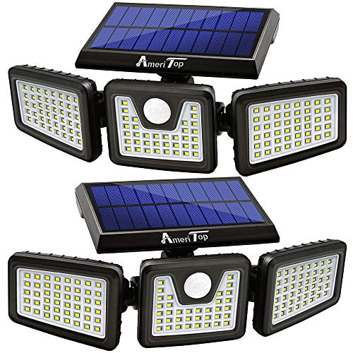 Solar Lights Outdoor, 2 Pack AmeriTop 128 LED 800LM Wireless LED Solar Motion Sensor Lights; 3 Adjustable Heads, 270°Wide Angle Illumination, IP65 Waterproof, Security LED Flood Light(Daylight)