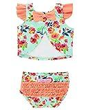 RuffleButts Baby/Toddler Girls Painted Flowers Tulip Back Bikini - 6-12m