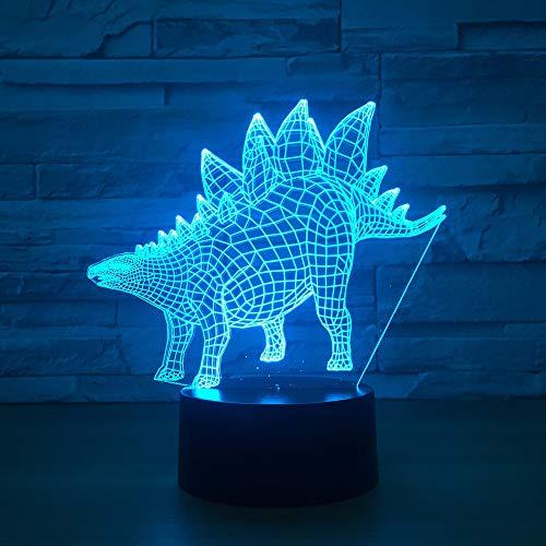 Mddjj 3D Dinosaur Night Light Illusion Led Table Lamp 7 Colors Usb Novelty Animal Desk Bedside Nightlight Lamps For Kids Gift Toy Schlafzimmerdekoration
