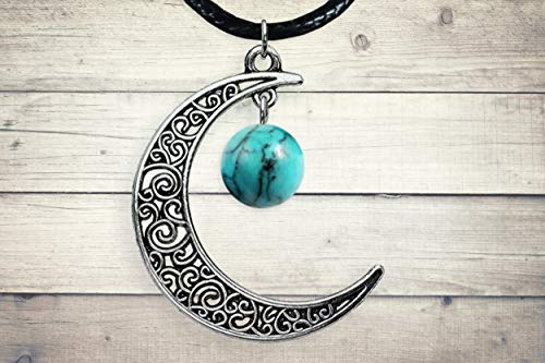 Turquoise Silver Celtic Crescent Moon Pendant-or Earrings- Turquoise Stone