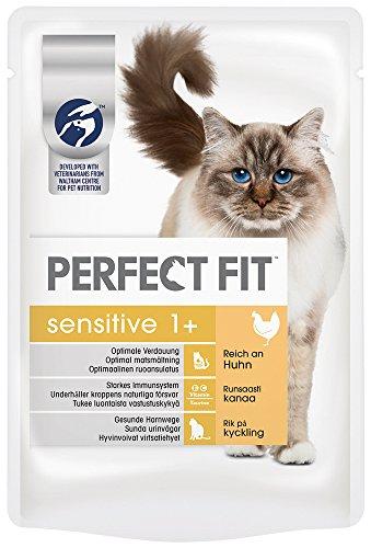 Perfect Fit Katzenfutter Sensitive 1 + reich an Huhn in Sauce, 12 Beutel (12 x 85 g)