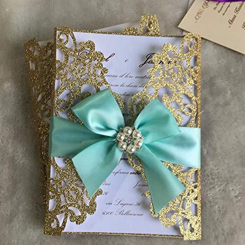 Piero Trouwkaart glitterpapier personaliseer uitnodigingen voor bruiloft en bedrijf, glitter rood, standaard formaat