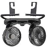 Garneck Ventilatore per Auto Elettrica 12V per Sedile Posteriore per Mini Ventola Doppia Testa per Auto per Ventola di Raffreddamento Auto con Supporto Posteriore (Nero)