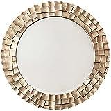 ACXZ Espejo de Pared con Marco Redondo de 70/80 cm, Espejo Colgante de decoración Adornado Moderno, Espejo de baño, para Entrada, Dormitorio, Salon, Dorado/champán