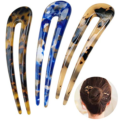 HYFEEL French Hair Forks Tortoise Shell U Shape Updo Hair Pins Clips for Thin Thick Hair, 4.3 inch Classic Cellulose Acetate 2 Prong Bun Hair Sticks Chignon Women Vintage Hairstyle Accessories, 3 Pack