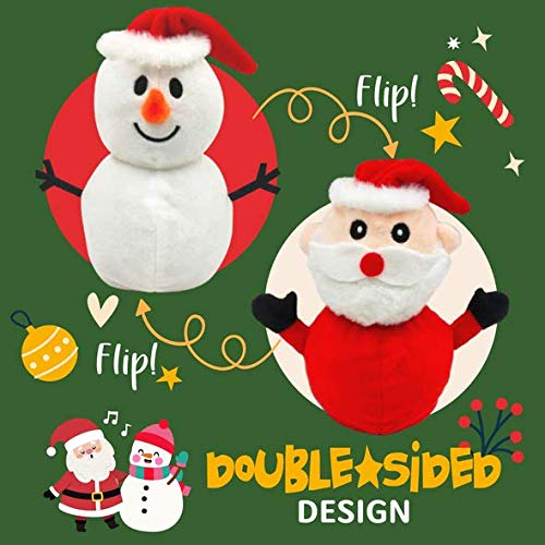Double-Sided Flip Christmas Santa Claus Snowman Doll, Easily Flipped from Snowman to Santa Claus, Cute Mini Animal Plush Toys for Christmas, Halloween, Birthday Parties and Other Holidays