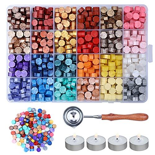 Mengxin 600 Piezas Sellos de Lacre con 4 Velas de Té + 1 Cuchara de Fundir 24 Colores Cera Lacre Octagonal para Sobres...