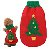 D KING D KING Turtleneck Dog Holiday Sweater,Christmas Dog Sweaters for Small Medium Dogs and Cats(Red001, Large/40cm)