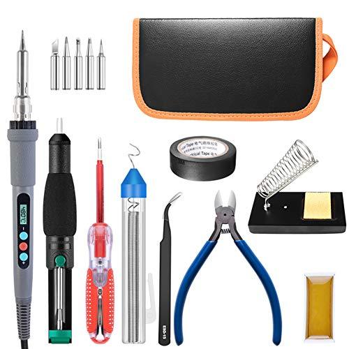 KOWE Lötkolben Set, 90 W, Einstellbare Temperatur, Elektrischer Lötkolbensatz, Tragbares Schweißreparaturwerkzeug,110V
