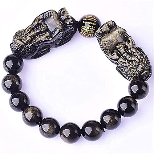 Branelli di preghiera Islam festivo festivo feng shui braccialetto oro ossidiana ricchezza feng shui braccialetto drago pixiu / piyao amuleto braccialetto prosperità cuore sutra buddha perline braccia