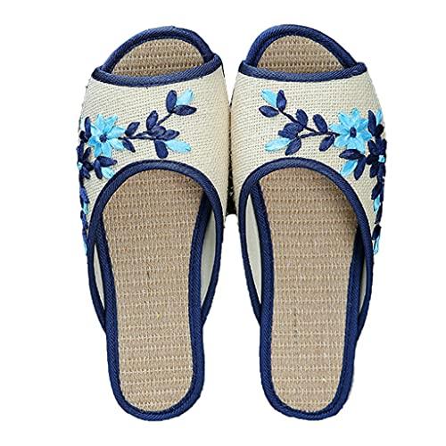 Zapatillas para Mujer Zapatillas De Punta Abierta Para Mujeres, Zapatillas De Lino Antideslizante, Zapatillas De Bordado Floral Chino, Diapositivas Casas Zapatos De Oficina Zapatillas Para Mujeres